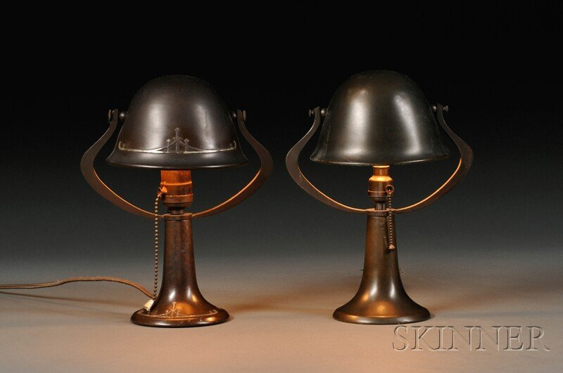 3: , Two Small Metal Lamps Attributed to Heinz Art, Bro