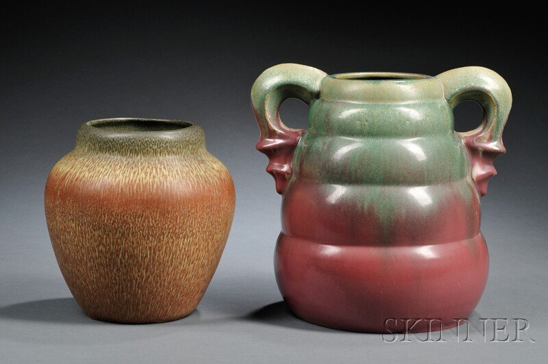 5: , Two Pottery Vases: Weller and Fulper, Art pottery,