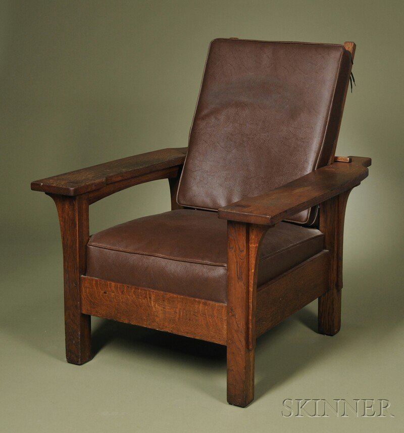 6: , Arts & Crafts Paddle-arm Morris Chair, Oak and sim