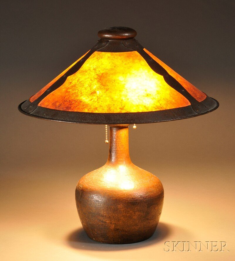 7: , Arts & Crafts-style Table Lamp, Hammered copper an