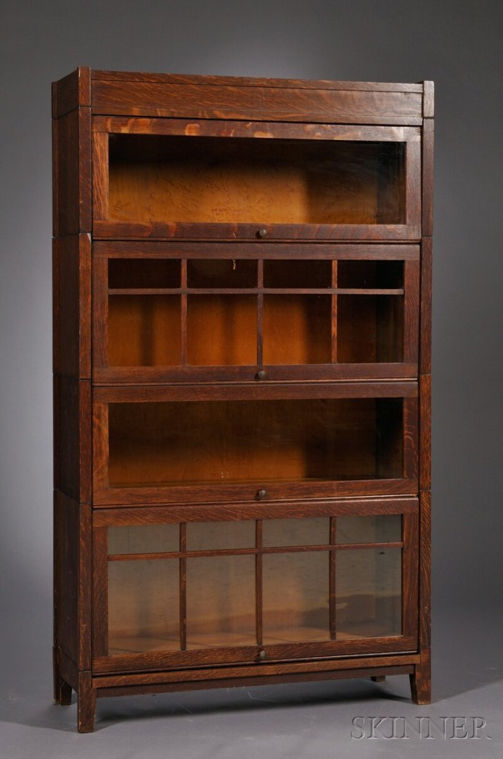 9: , Arts & Crafts Stacking Bookcase, Oak and glass, Tw