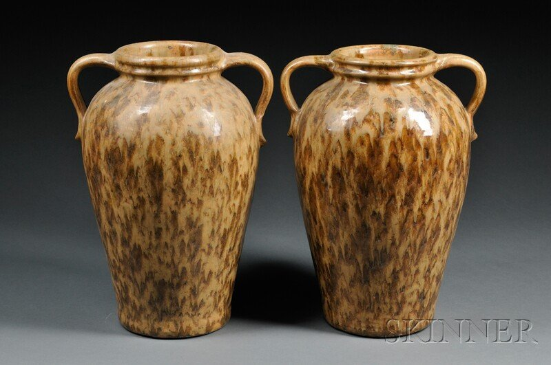 10: , Pair of Stoneware Vases, Art pottery, The large t