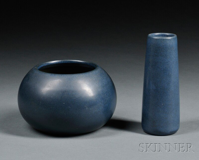 19: , Two Marblehead Vases, Art pottery, Wide mouth on