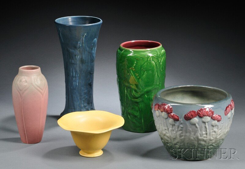 21: , Weller Jardiniere and Four Rookwood Vases, Art po