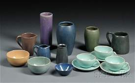 80  Sixteen Pieces of Art Pottery  Cylindrical Fulp