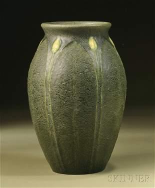 87: , Grueby Pottery Decorated Vase, Art pottery, Flare