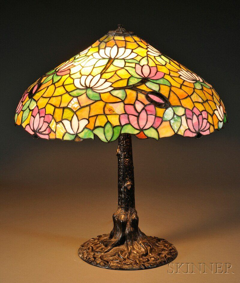 , Water Lily Lamp Attributed to Chicago Mosaic, Ar