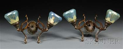 185  Pair of Art Nouveau Wall Sconces Bronze and dec