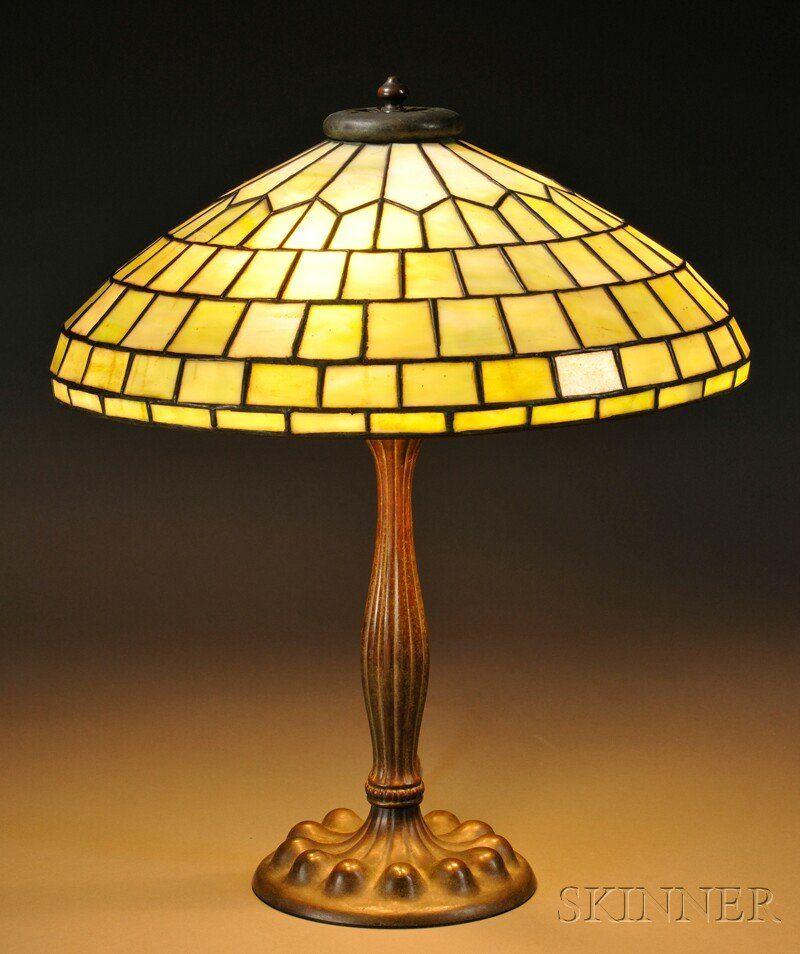 , Mosaic Glass Table Lamp, Mosaic glass and patina