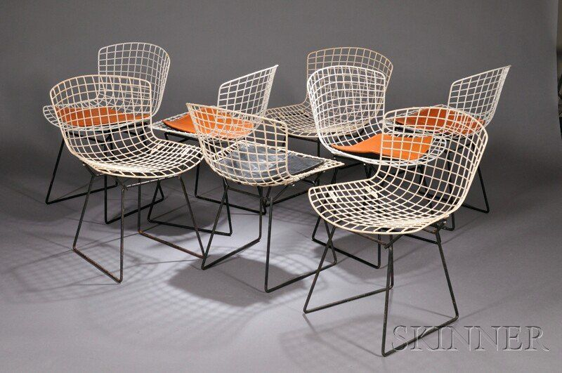 , Eight Harry Bertoia Wire Chairs, Wire and fabric