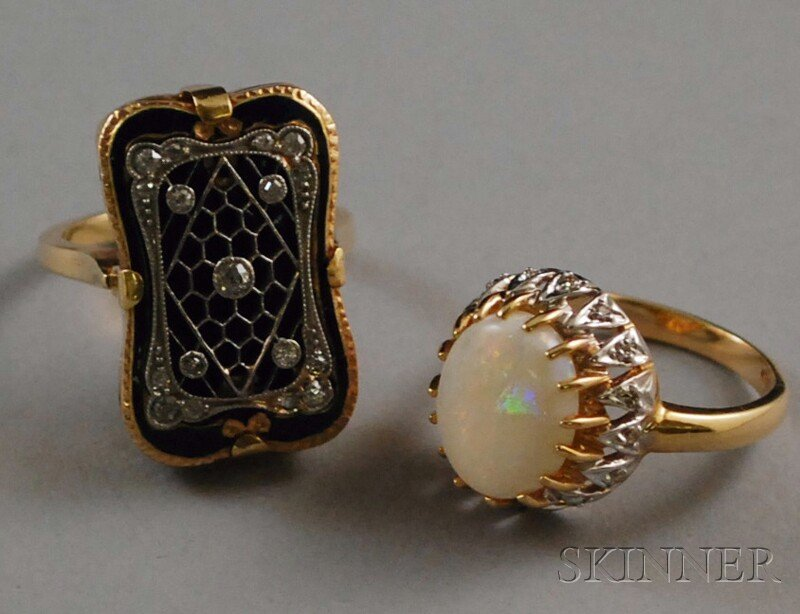 204: Two 14kt Gold Rings, an opal and diamond ring mark