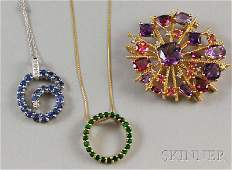 296: Three 14kt Gold Gem-set Jewelry Items, a yellow go