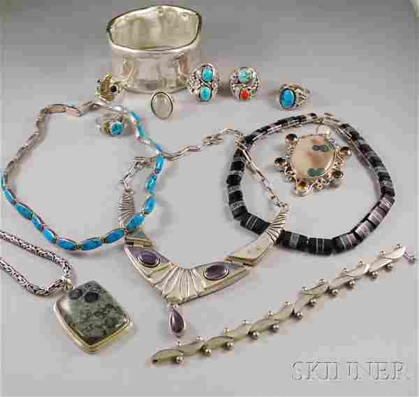 Group of Sterling Silver Jewelry, including a larg