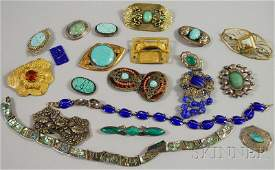371A: Group of Mostly Sterling Silver and Hardstone Jew