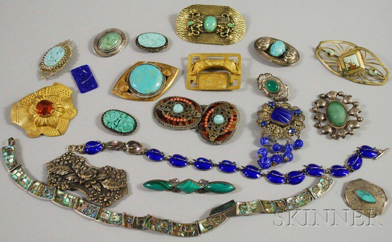 Group of Mostly Sterling Silver and Hardstone Jew