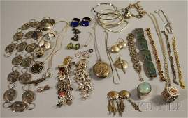395: Group of Mostly Sterling Silver Jewelry, including