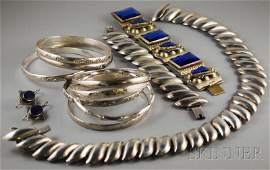 398: Group of Mexican Sterling Silver Jewelry, includin