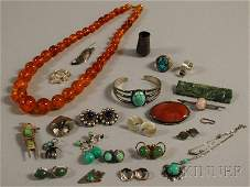 400: Small Group of Sterling Silver and Hardstone Jewel