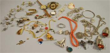 411 Small Group of Mostly Costume Jewelry including s