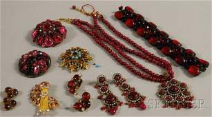 435 Small Group of Assorted Red Stone Costume Jewelry