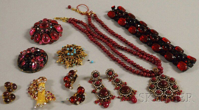 Small Group of Assorted Red Stone Costume Jewelry,