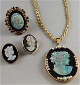 505 Three 14kt Gold Onyx and Opal Cameo Jewelry Item