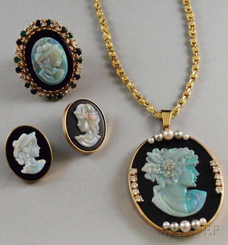 505: Three 14kt Gold, Onyx, and Opal Cameo Jewelry Item