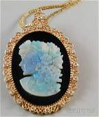 581 Large 14kt GoldandDiamondframed Onyx and Opal C