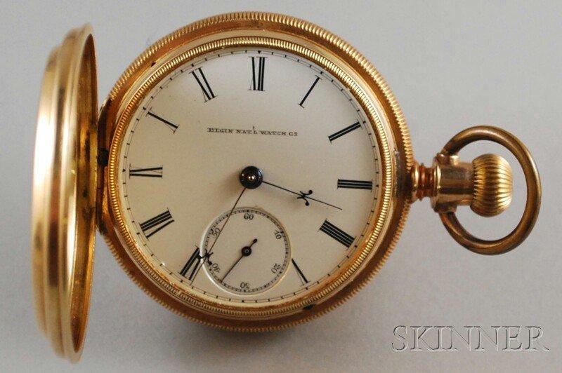 585: 14kt Gold Elgin Hunting Case Pocket Watch, inside