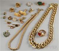 596: Small Group of Assorted Jewelry, a 14kt gold neckl