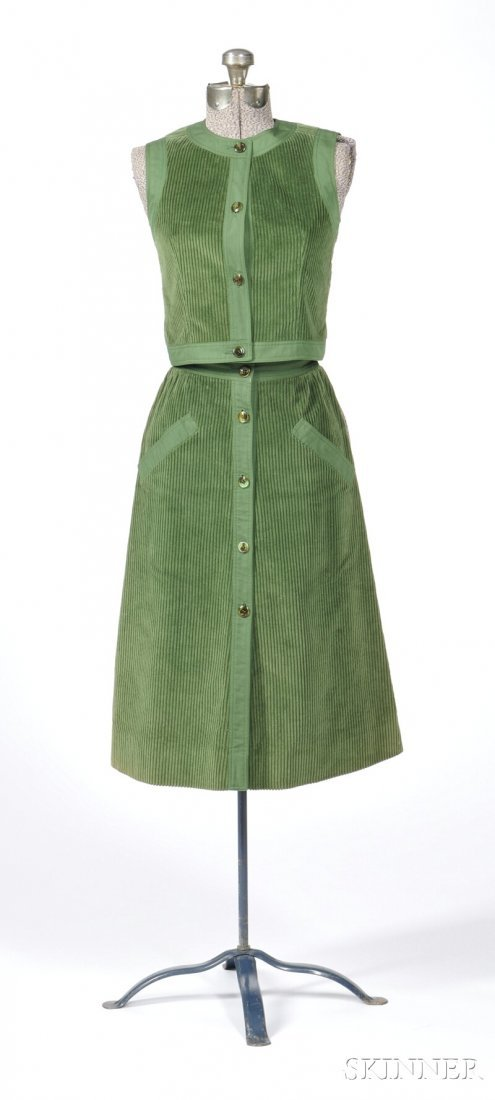 629: Vintage Courreges Green Corduroy Outfit, two-piece