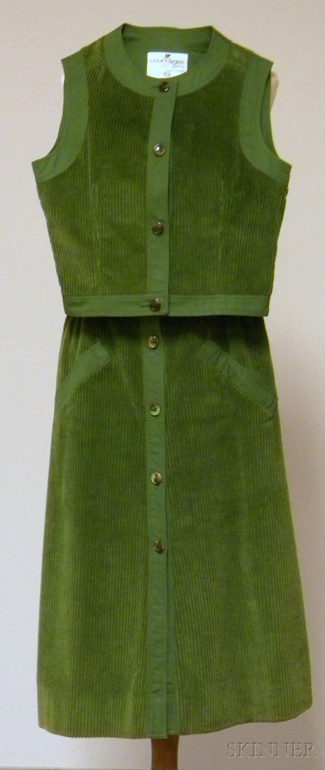 629: Vintage Courreges Green Corduroy Outfit, two-piece - 2