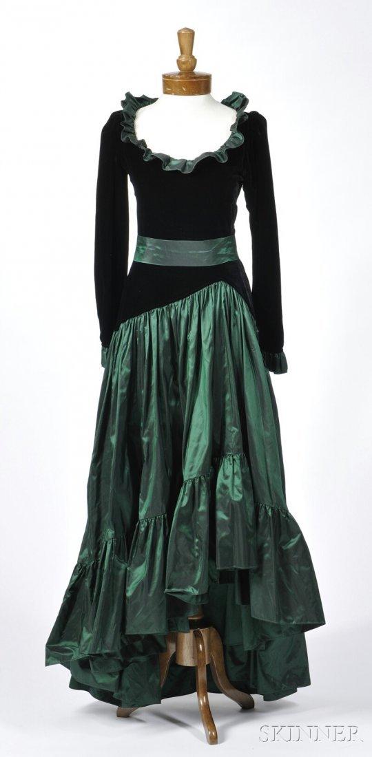 689: Yves Saint Laurent Evening Dress, black velvet top