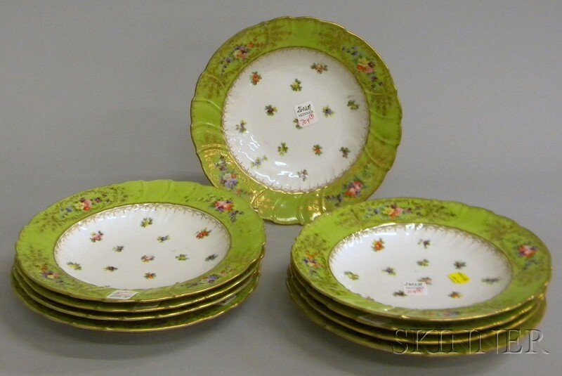 704: Set of Nine Dresden Gilt, Green-banded, and Hand-p