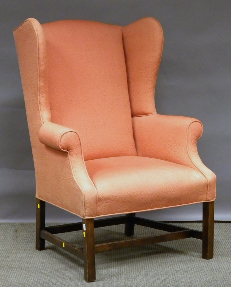 707: Chippendale-style Upholstered Maple Wing Chair.