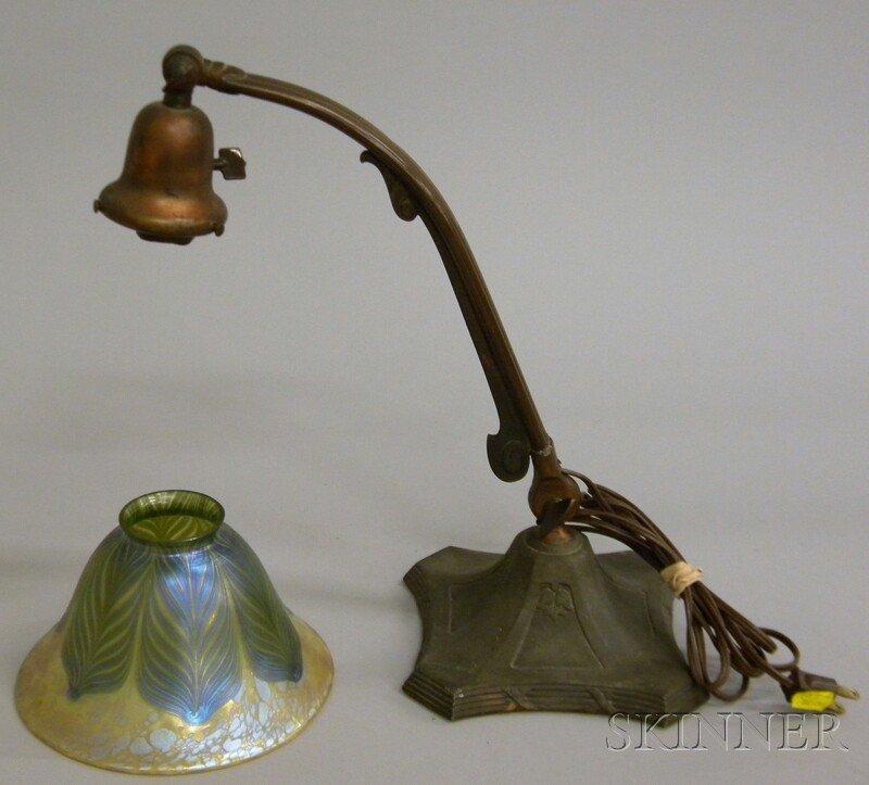 708: Handel Patinated Metal Desk Lamp with an Iridescen