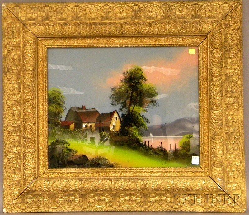 709: Framed 19th/20th Century American School Reverse-p