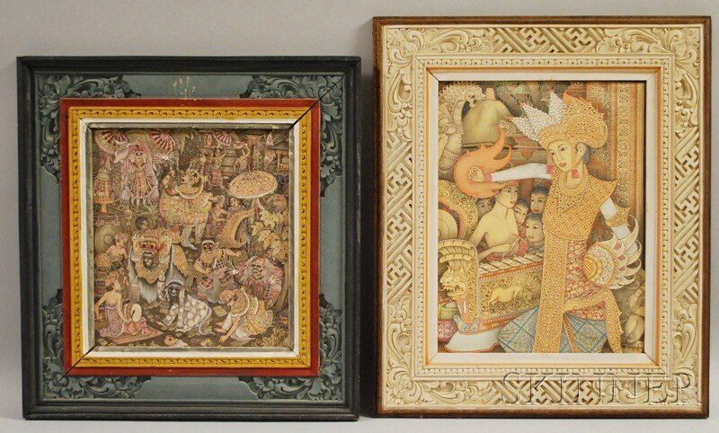711: Two Framed Oil on Canvas Indonesian Paintings of C