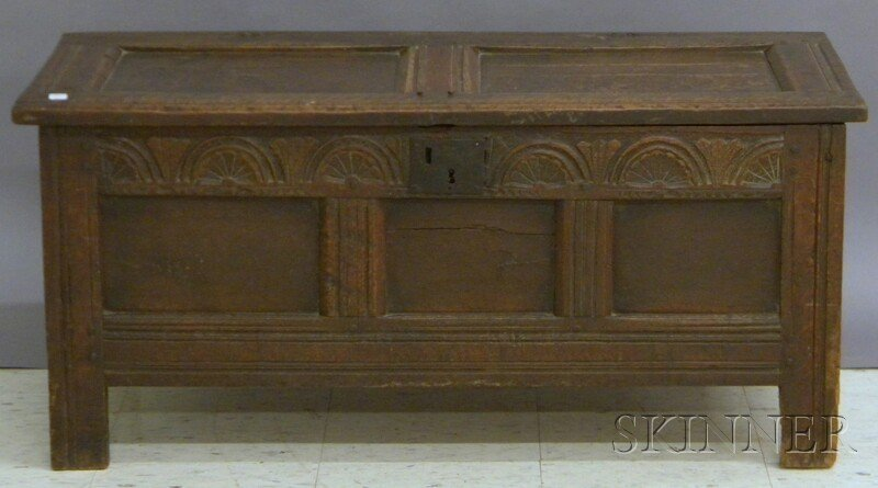 715: William & Mary Carved Oak and Paneled Joint Chest,