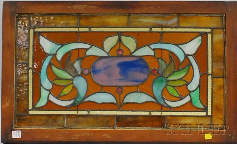 717: Late Victorian Architectural Leaded Art Glass Pane