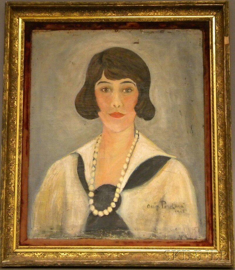 717A: 20th Century American School Oil on Canvas Portra