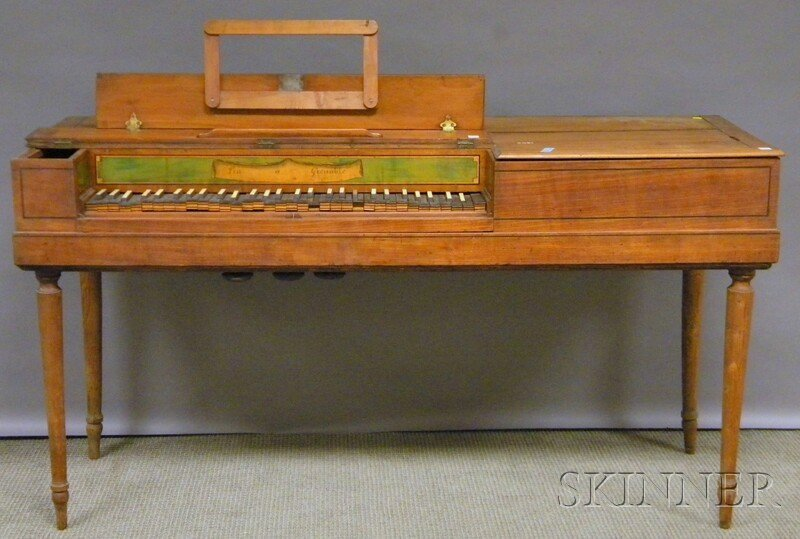 720: French Provincial Inlaid Fruitwood Piano Forte, la