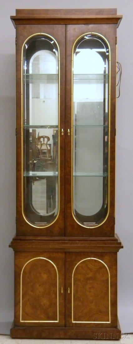 721: Neoclassical-style Brass-mounted Burl Veneer Vitri