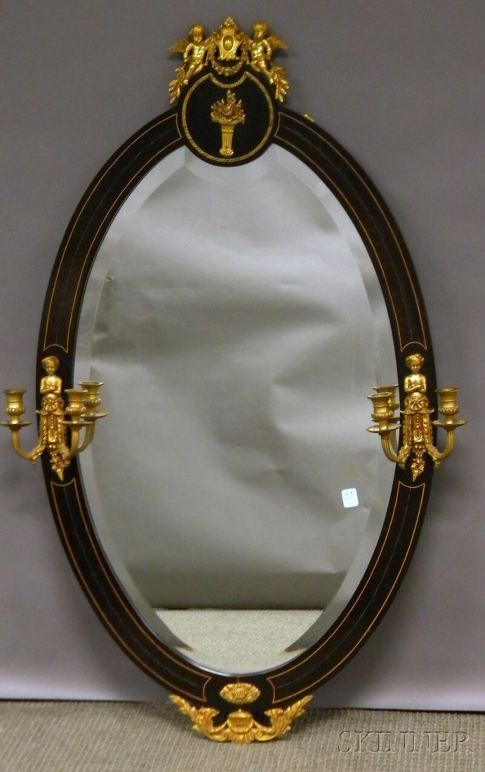 722: French-style Oval Brass-mounted and Inlaid Ebonize