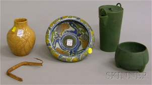 984: Four Pieces of Arts & Crafts Pottery, a matte gree