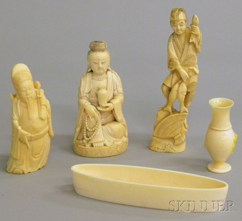 994: Five Asian Ivory Carvings, a miniature vase, boat-