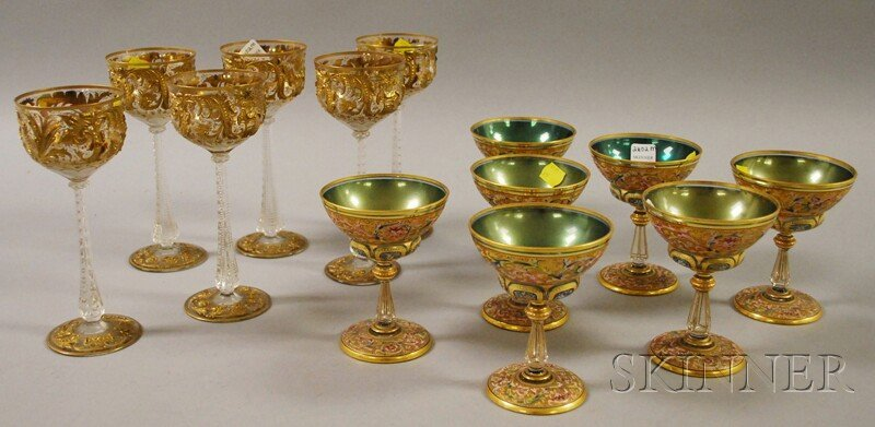 1041: Two Sets of Enamel-decorated Glass Stemware, a se