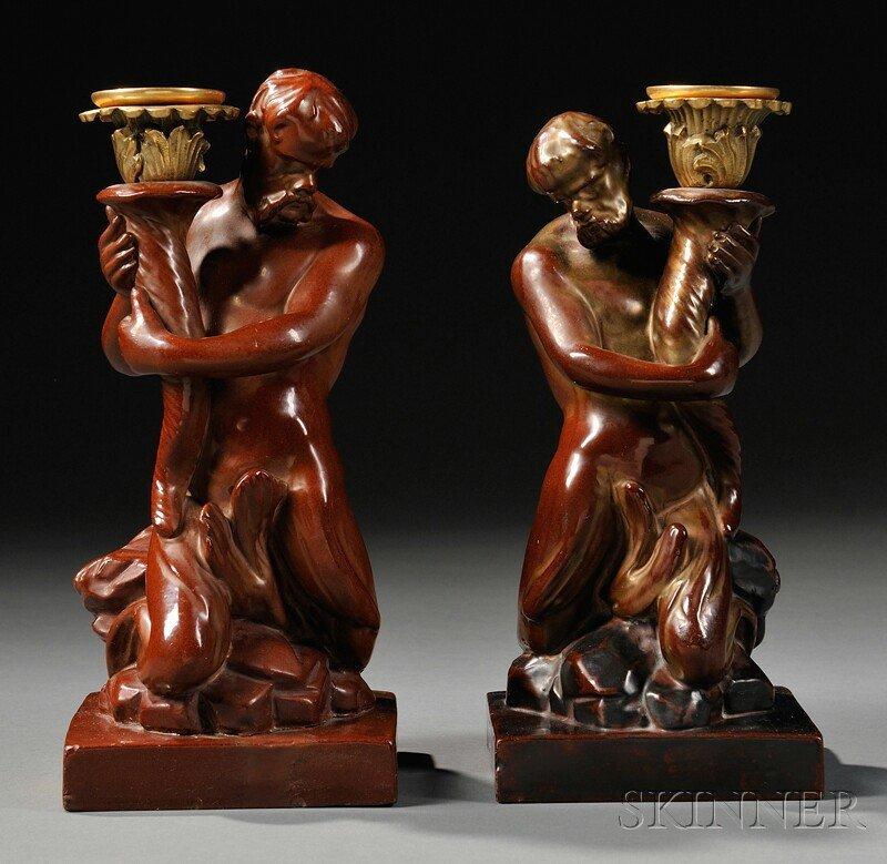 4A: Pair of Wood and Caldwell Triton Candlesticks, Engl