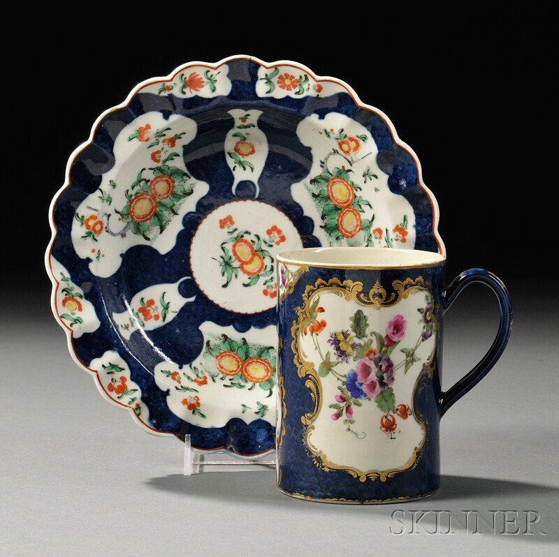 5: Two Worcester Porcelain Scale Blue Floral-decorated