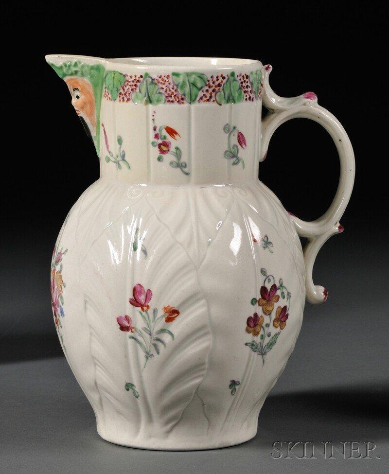9: Worcester Porcelain Cabbage Leaf and Mask Jug, Engla